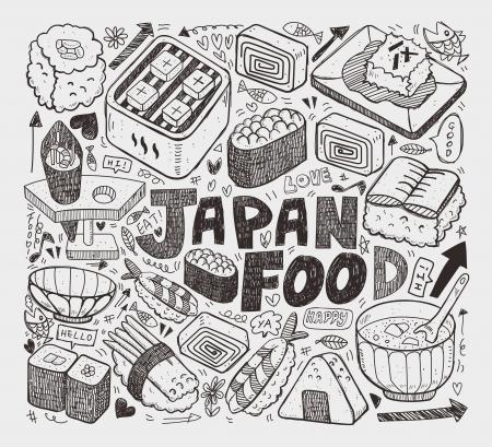 fried eggs: doodle Japanese sushi element