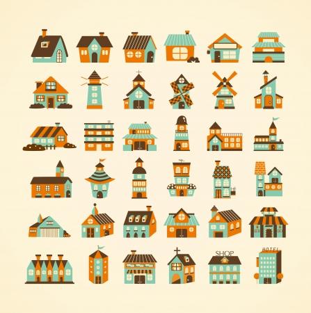 moinhos de vento: Ícone retro casa conjunto Ilustração