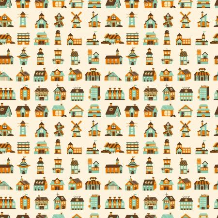 seamless retro house pattern Vector