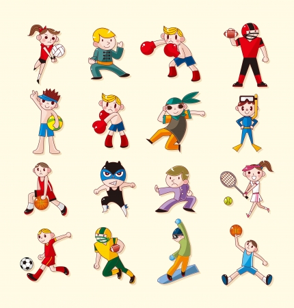female wrestling: sport player icons set