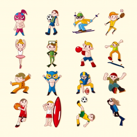 woman jump: sport player icons set
