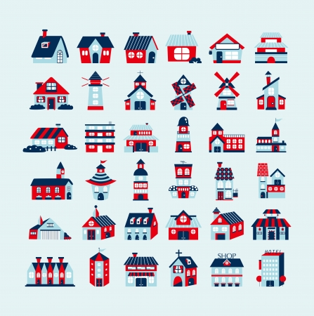 church building: retro house icon set Illustration