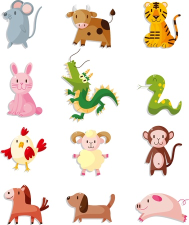 year of snake: 12 animal icon set,Chinese Zodiac animal Illustration