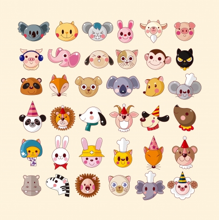 set of animal face icons Stock Vector - 18875997