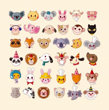 set of animal face icons Illustration