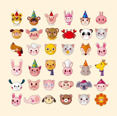 conjunto de iconos principales animales Ilustración de vector