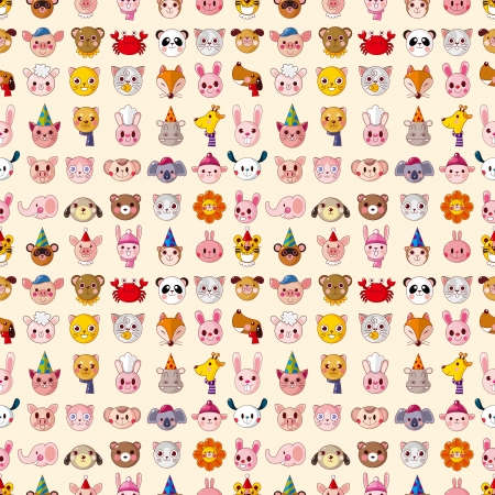 seamless animal head pattern Vector