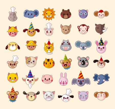 set of animal head icons Vector