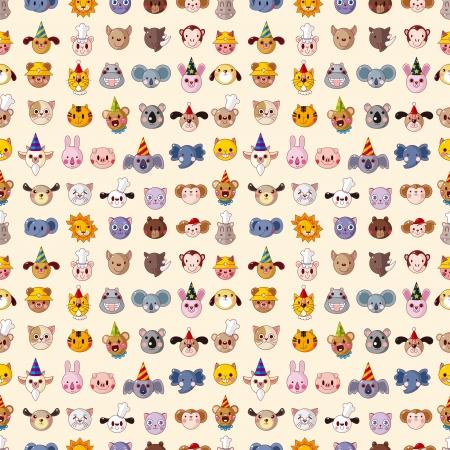 animal head: seamless animal head pattern Illustration