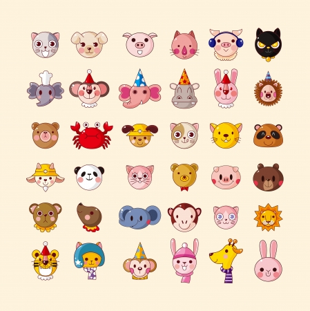 puppies: set of animal head icons