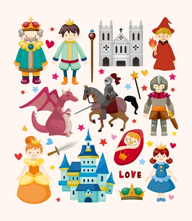 medieval woman: set of fairy tale element icons