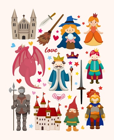 the fairy tale: set of fairy tale element icons