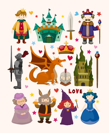 medieval dress: set of fairy tale element icons