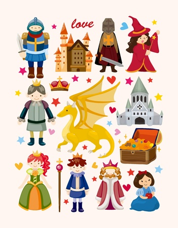 cartoon knight: set of fairy tale element icons