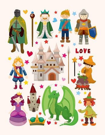 set of fairy tale element icons Vector