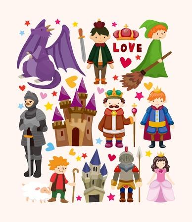 principe: set di icone di elementi fata racconto