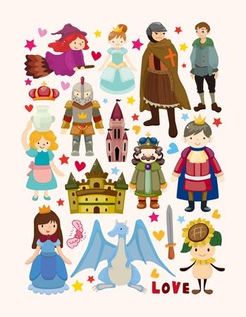 rey medieval: conjunto de elementos de cuento de hadas iconos Vectores