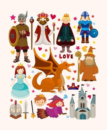 castillos de princesas: conjunto de elementos de cuento de hadas iconos Vectores