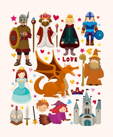 knights: set of fairy tale element icons