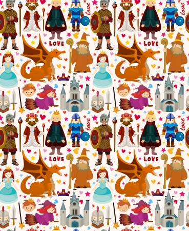 medieval woman: seamless Fairy tale pattern Illustration