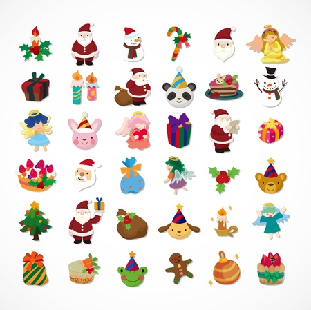 christmas cake: set of Christmas icons