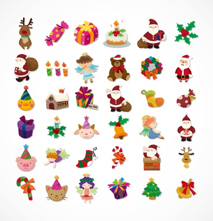 cartoon dinner: set of Christmas icons
