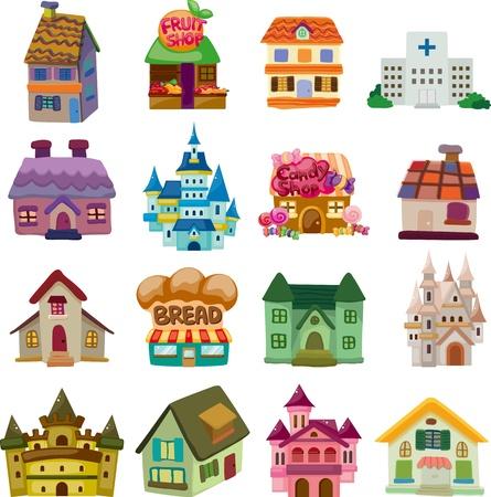 hospital dibujo animado: conjunto de iconos de la casa