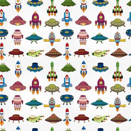 seamless UFO Rocket pattern Vector