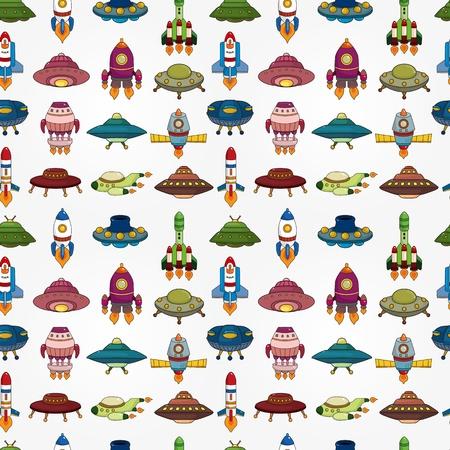 seamless UFO Rocket pattern
