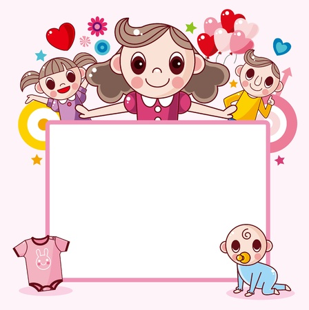 baby on board: Happy family frame Illustration