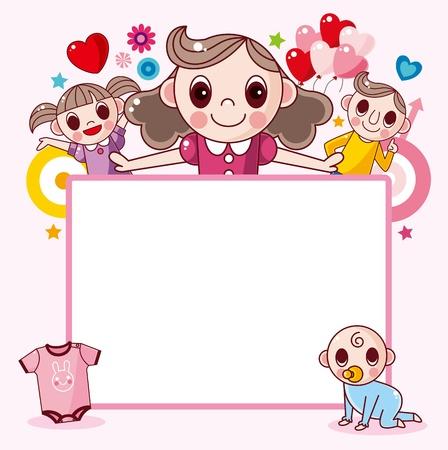 cartoon frame: Happy family frame Illustration