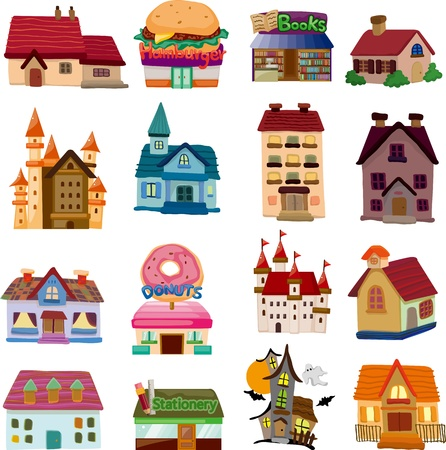 haunted house: set of house icons