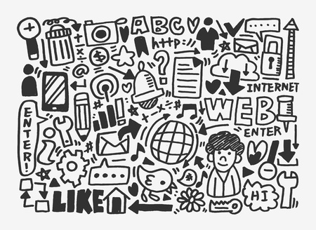 clound: doodle network pattern Illustration