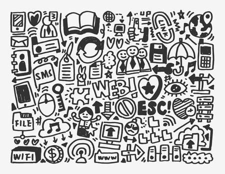 clound: doodle network element,cartoon vector illustration Illustration