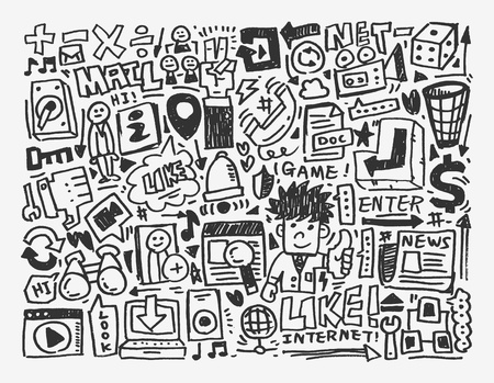 clound: doodle network element,cartoon vector illustration Illustration
