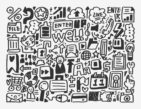 doodle network element,cartoon vector illustration Vector