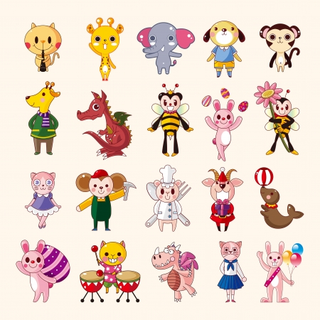 sea goat: set of animal icons