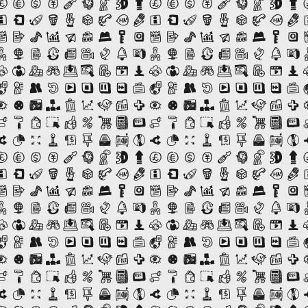 mail icon: seamless doodle network pattern Illustration