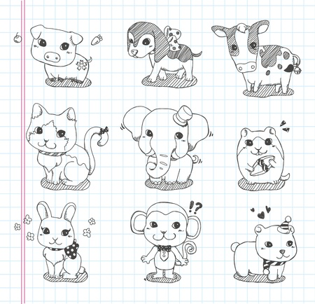 set of doodle animal icons Vector