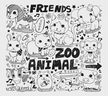 cartoon pig: animal friend doodle element