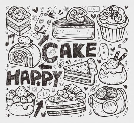 doodle cake element Vector