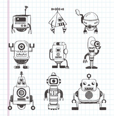 set of doodle robot icons Vector