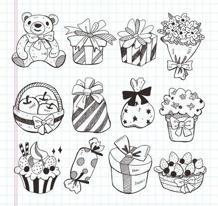 set of birthday gift icons Vector
