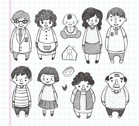 낙서 가족 아이콘 일러스트