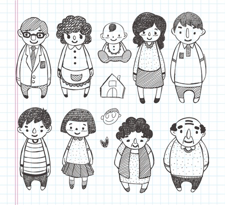 femme dessin: Ic�nes de familles de griffonnage
