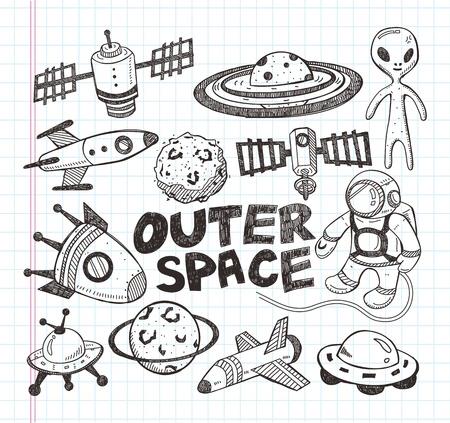 doodle de iconos de elementos espaciales Ilustración de vector