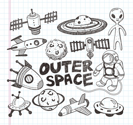 doodle space element icons Vector