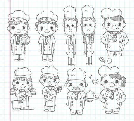 doodle chef icons Vector
