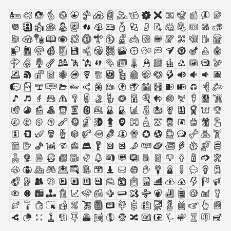 media icons: 324 Vector Doodle Web Icons