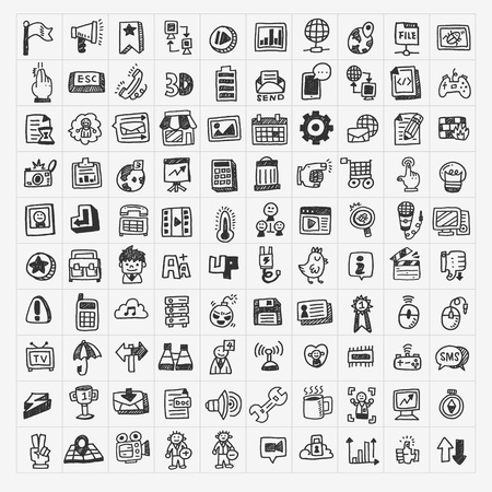 information medium: 100 doodle web icons set